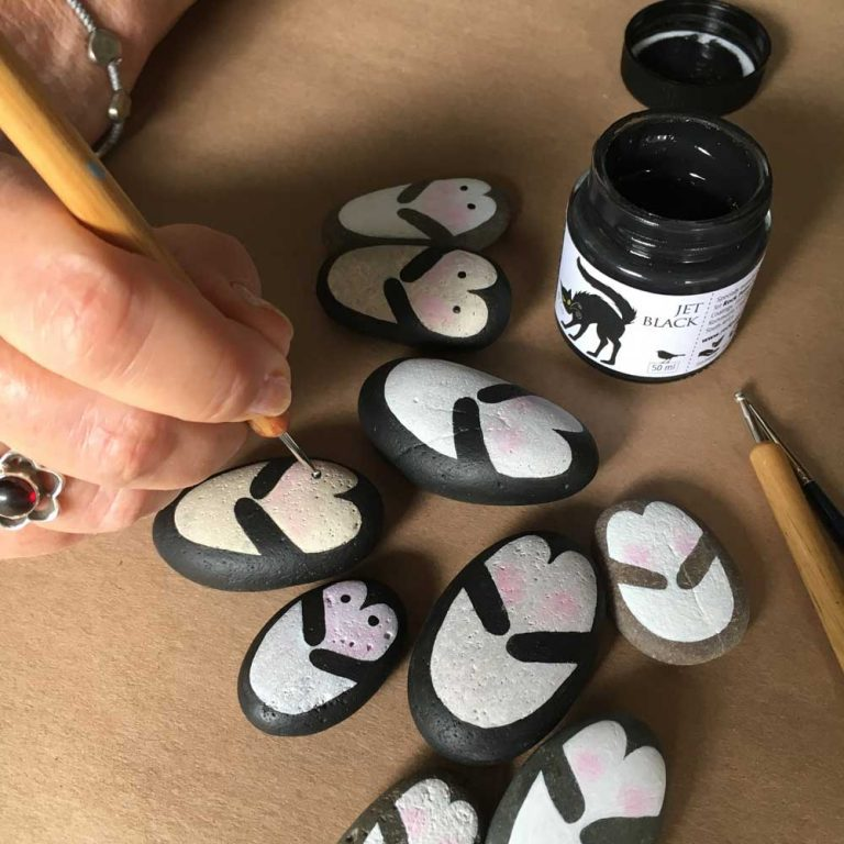 Painted penguin rocks tutorial step 10