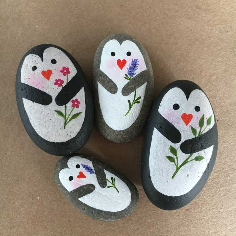 Painted penguin rocks tutorial step 12