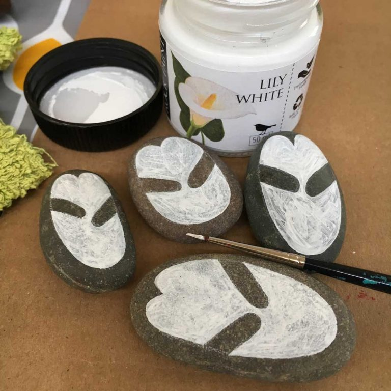 Painted penguin rocks tutorial step 5