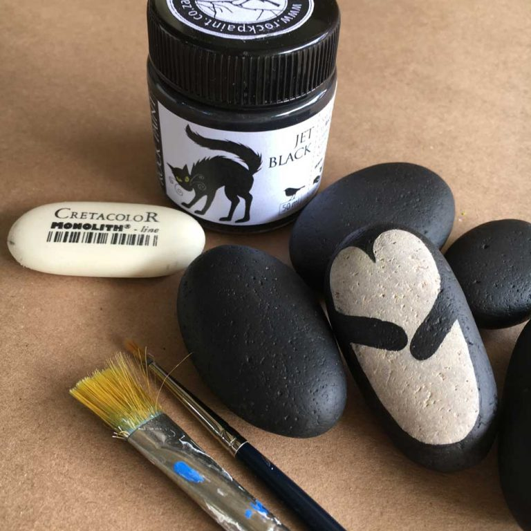 Painted penguin rocks tutorial step 7