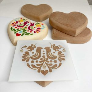 Stencil for painting on wooden hearts or rocks