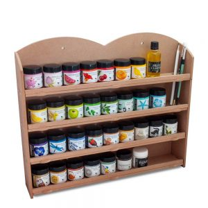 wall mounted shelf with full range of rock paints