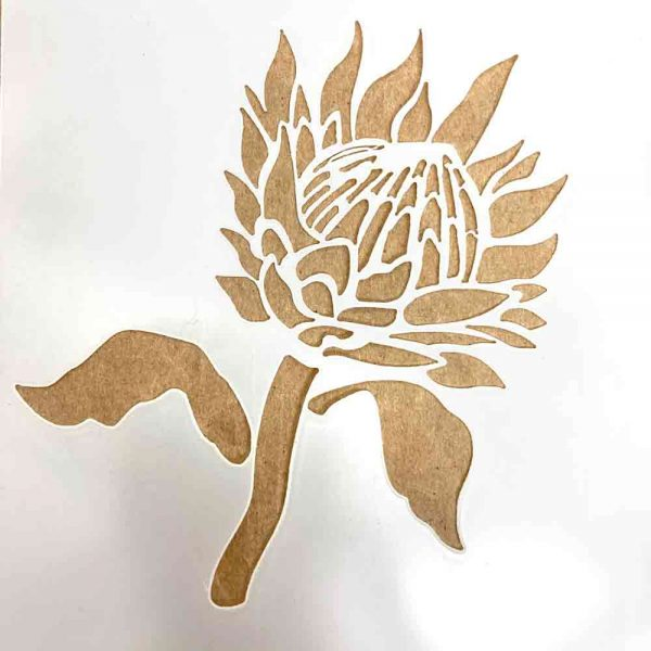 protea stencil for rock painting