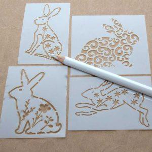 Bunny stencils and white pencil combo